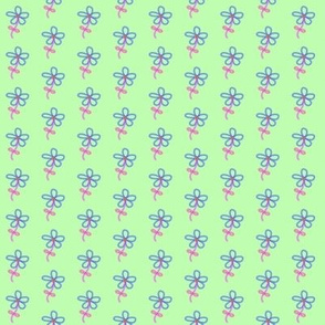 Blue and Pink Flowers on Pale Green