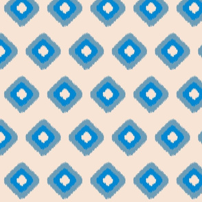 blue and peach ikat