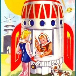 vintage retro kitsch astronauts science fiction sci fi  futuristic spaceships rockets planets space boys girls dogs galaxy shuttle pilots Saturn
