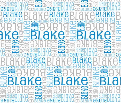 Personalised Name Design - Blues and Grey fabric by shelleymade on Spoonflower - custom fabric
