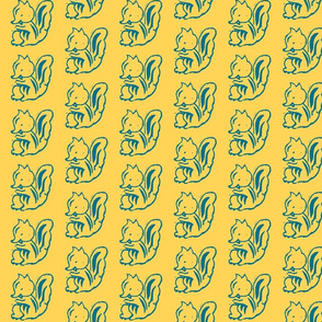 Cheeky Squirrel (Mustard and Teal)