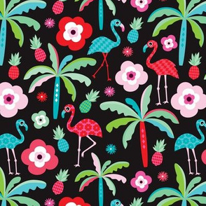 Tropical flamingo summer jungle paradise