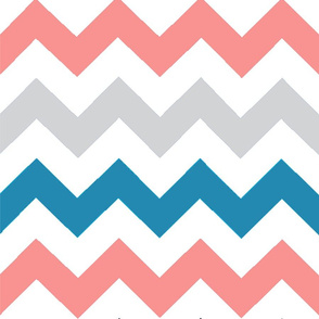 Teal Blue, gray and coral chevrons pattern