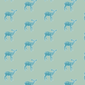 Dear Deer in Shabby Chic Blue, Larger