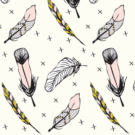 happy feathers - elvelyckan fabric by elvelyckan on Spoonflower - custom fabric