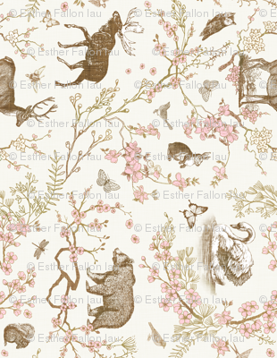 Woodland Spring Toile (Sepia) RAILROAD