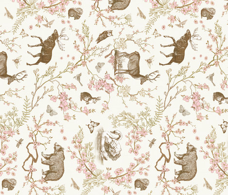 Woodland Spring Toile (Sepia) RAILROAD fabric by nouveau_bohemian on Spoonflower - custom fabric