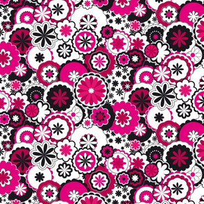 flowers in pink and black