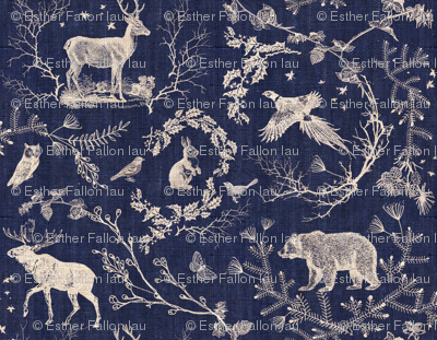 Winter Toile (in Navy background)
