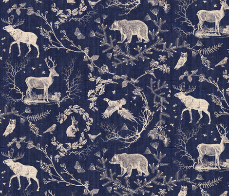 Winter Toile (in Navy background) fabric by nouveau_bohemian on Spoonflower - custom fabric
