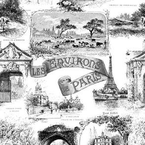 Les Environs de Paris ~ Toile de Jouy ~ Black and White