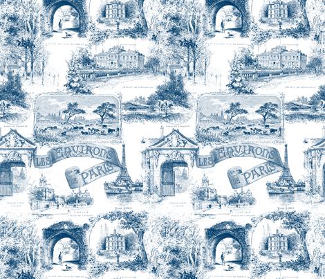 Les environs de paris toile de jouy blue and white fabric peacoquettede - Rideaux toile de jouy ...