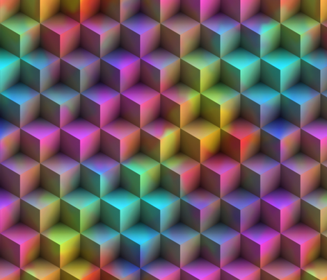 3D Squares ~ Rainbow fabric by peacoquettedesigns on Spoonflower - custom fabric