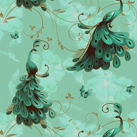 Seafoam Peacocks fabric by lafleur on Spoonflower - custom fabric