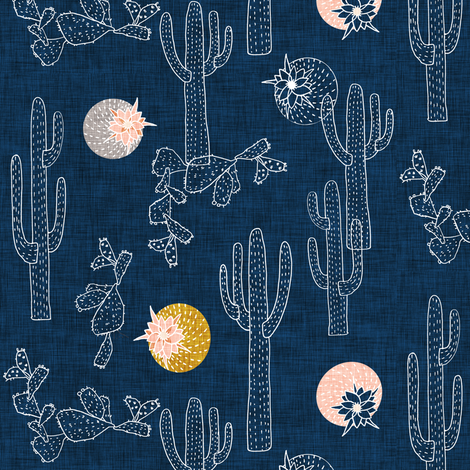 Indigo Cactus SMALL fabric by nouveau_bohemian on Spoonflower - custom fabric