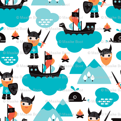 Scandinavian vikings and pirate ship illustration pattern