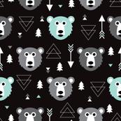 Geometric grizzly bear woodland illustration pattern