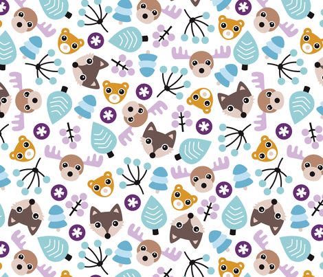 Winter wonderland moose fox and woodland animals for Children s animal print fabric