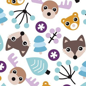 Winter wonderland moose fox and woodland animals illustration pattern