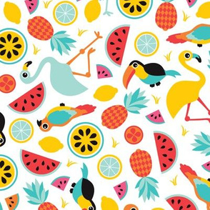Exotic summer fruit paradise flamingo tucan pineapple and water melon illustration print