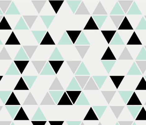 Double Scale Triangles Cool Mint Black And Gray Fabric