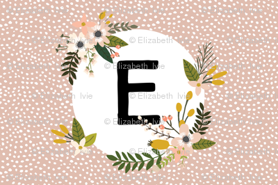 Blush Sprigs and Blooms Monogram Lovey // E