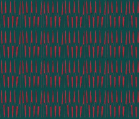 Red Spikes on Forrest Green fabric by eve_catt_art on Spoonflower - custom fabric