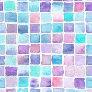 watercolor squares - pink, purple, blue