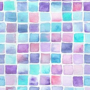 watercolor squares - pink, purple, blue