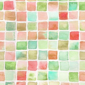 watercolor squares - red, brown, green, teal