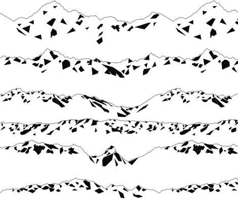 Geometric Mountains Black & White fabric by smuk on Spoonflower - custom fabric
