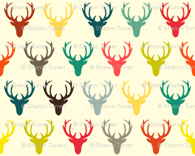 retro deer head simple cream