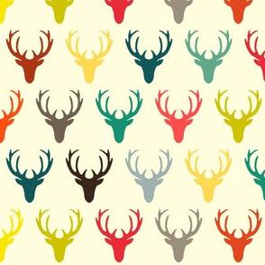 retro deer head simple cream