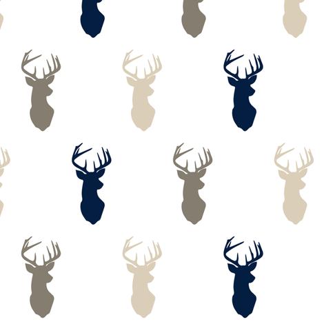 multi buck head (small scale) // rustic woods fabric by littlearrowdesign on Spoonflower - custom fabric