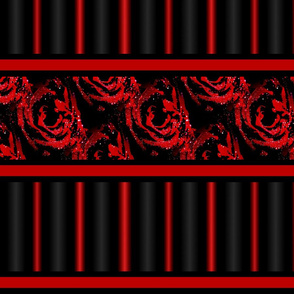 Red Black Roses Stripes Ribbon