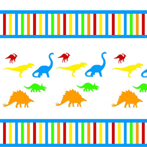 Bright Dinosaurs Stripes