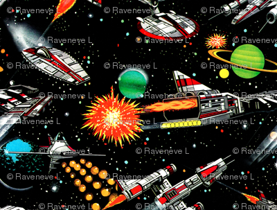 vintage retro kitsch science fiction futuristic spaceships rockets planets space galaxy shuttle Saturn moon pop art battles UFO stars wars