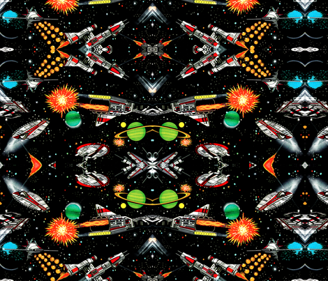 vintage retro kitsch science fiction futuristic spaceships rockets planets space galaxy shuttle Saturn moon pop art battles UFO stars wars fabric by raveneve on Spoonflower - custom fabric