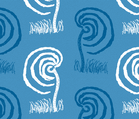 Willows Weeping Blue and White fabric by anniedeb on Spoonflower - custom fabric