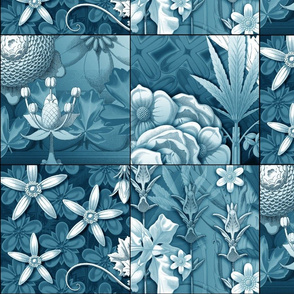 leaf quilt  blocks blue