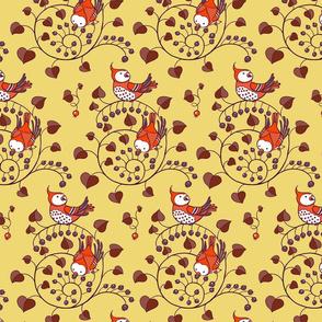 Cute Red Birds Berries