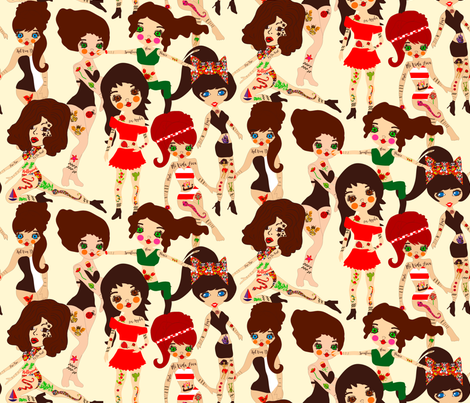Kat Von D and Friends fabric by orangefancy on Spoonflower - custom fabric
