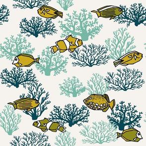 coral reef // kids nautical summer ocean coral fish tropical kids