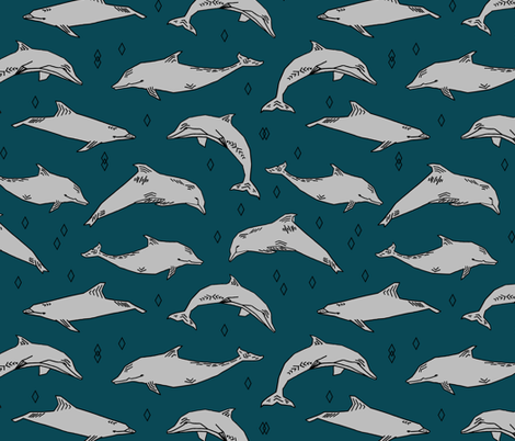 dolphin // kids animals ocean water animals whales nautical summer fabric by andrea_lauren on Spoonflower - custom fabric