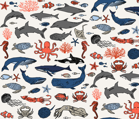 ocean animals // kids shark whale squid crab shark fish dolphin kids ocean nautical animals fabric by andrea_lauren on Spoonflower - custom fabric