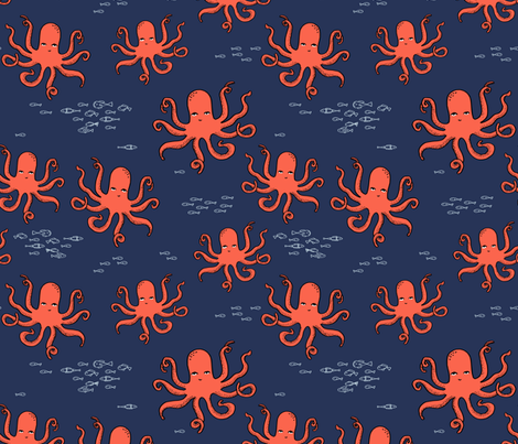 octopus // kids ocean nautical summer fish  fabric by andrea_lauren on Spoonflower - custom fabric