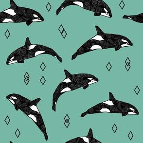 orca whale // ocean nautical whales animals green
