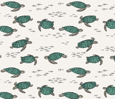 sea turtles // ocean nautical summer kids turtles reptiles fabric by andrea_lauren on Spoonflower - custom fabric