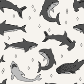 sharks // off-white shark fabric shark design sharks fabric for kids room shark decor boys room sharks shark week pattern shark week print andrea lauren