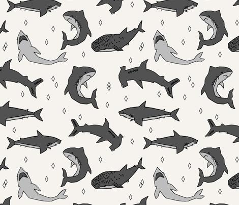 Sharks Offwhite Shark Fabric Shark Design Sharks Fabric For Kids Interesting Shark Pattern